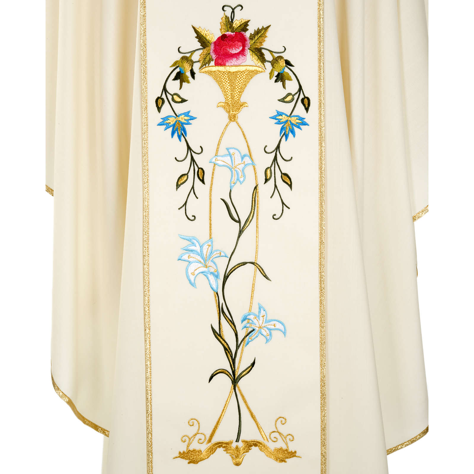 Liturgical vestment in wool with Marian symbol and Virgin Mary 4