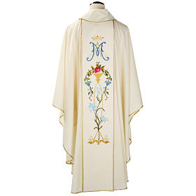 Liturgical vestment in wool with Marian symbol and Virgin Mary s2