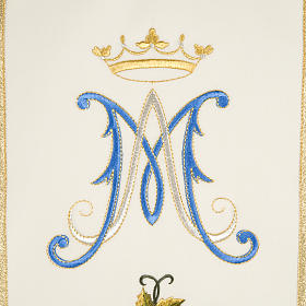 Liturgical vestment in wool with Marian symbol and Virgin Mary s4