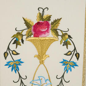 Liturgical vestment in wool with Marian symbol and Virgin Mary s5