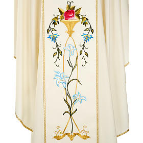 Liturgical vestment in wool with Marian symbol and Virgin Mary s6