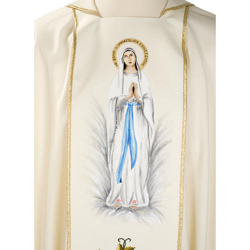 Liturgical vestment in wool with Marian symbol and Virgin Mary 7