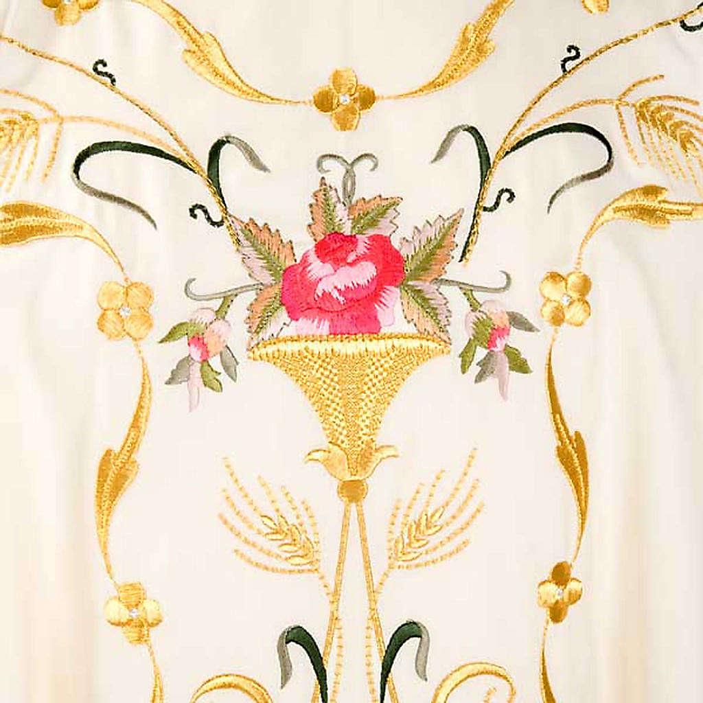 Casulla sacerdotal flores decoraciones 100% lana 4
