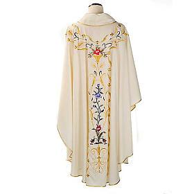 Casulla sacerdotal flores decoraciones 100% lana s2