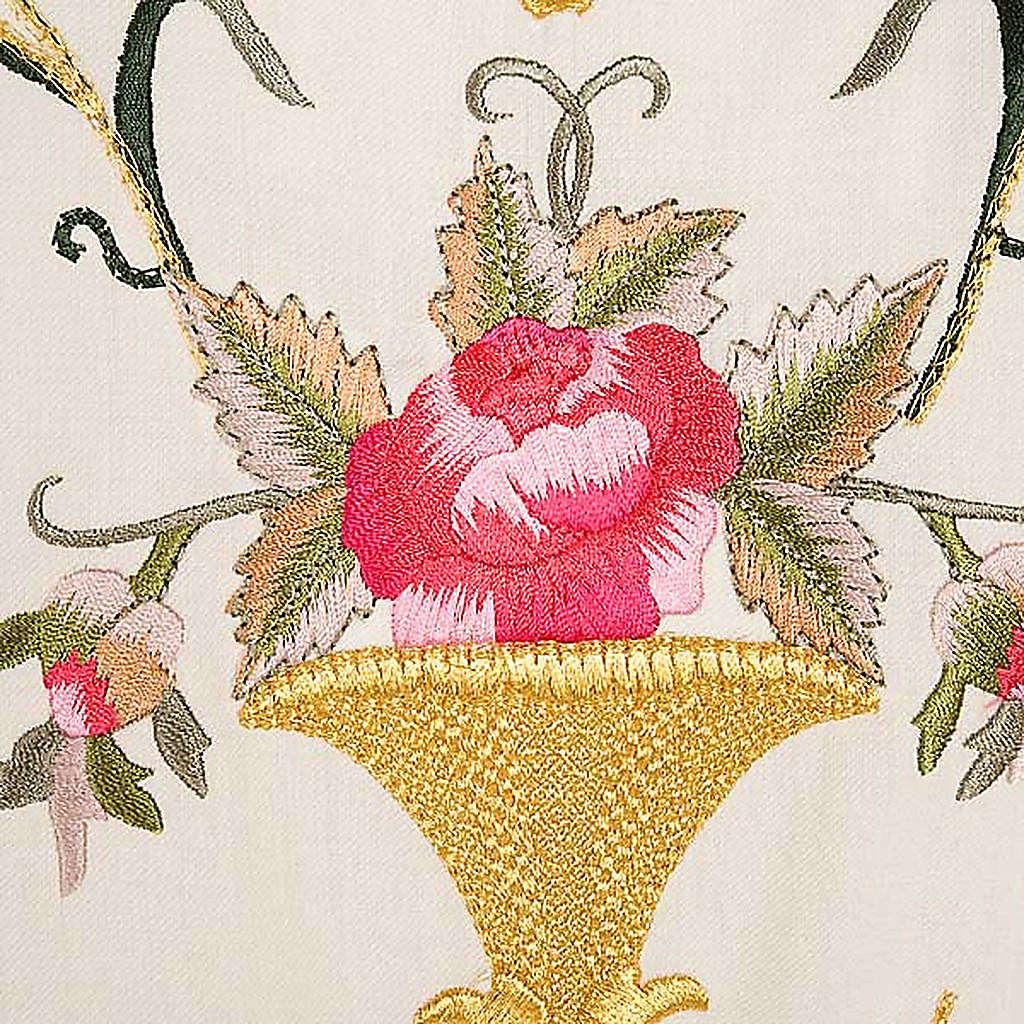 Casula sacerdotale fiori decorazioni 100% lana 4