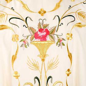 Casula sacerdotale fiori decorazioni 100% lana s3