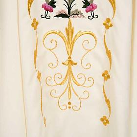 Casula sacerdotale fiori decorazioni 100% lana s5