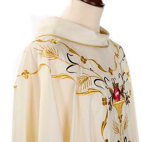 Casula sacerdotale fiori decorazioni 100% lana s6
