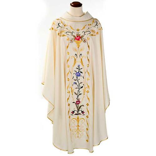 Casula sacerdotale fiori decorazioni 100% lana 1