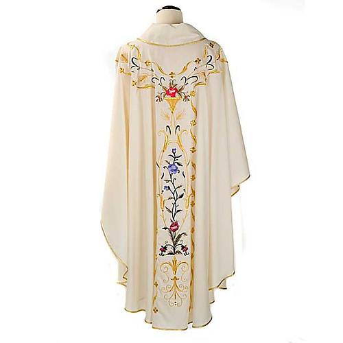 Casula sacerdotale fiori decorazioni 100% lana 2