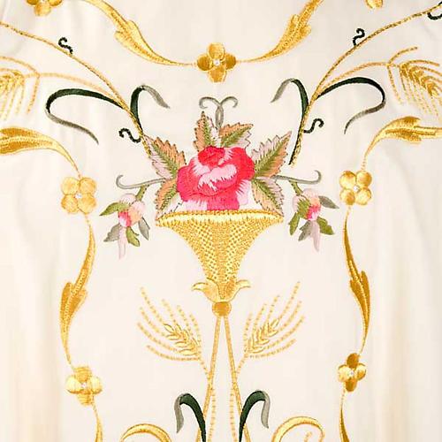 Casula sacerdotale fiori decorazioni 100% lana 3