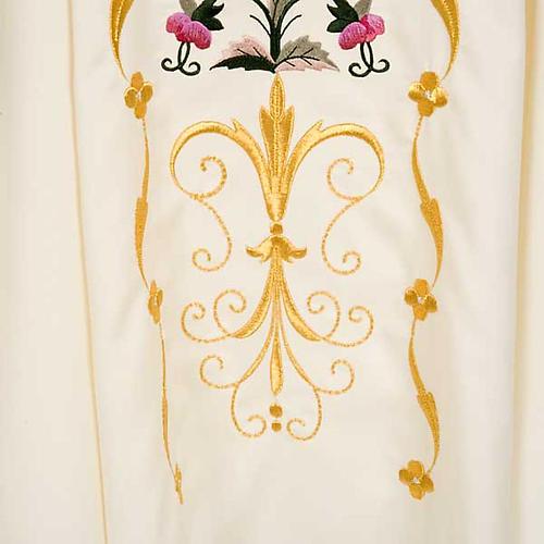 Casula sacerdotale fiori decorazioni 100% lana 5