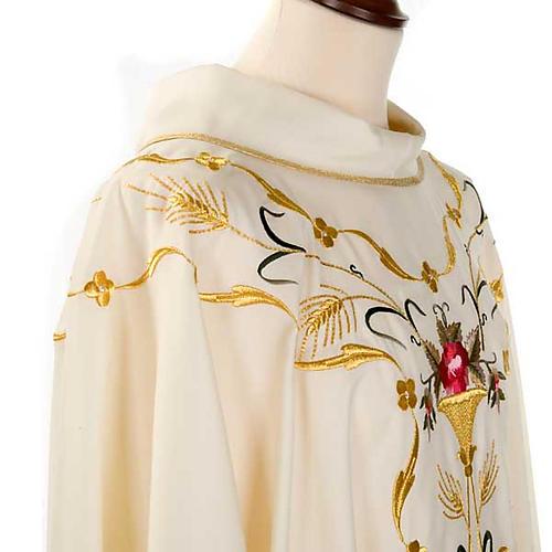 Casula sacerdotale fiori decorazioni 100% lana 6