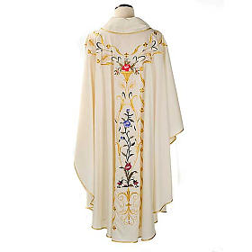 Liturgical vestment in wool with floral embroideries s2