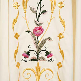 Liturgical vestment in wool with floral embroideries s4