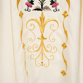 Liturgical vestment in wool with floral embroideries s5