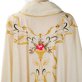 Liturgical vestment in wool with floral embroideries s7