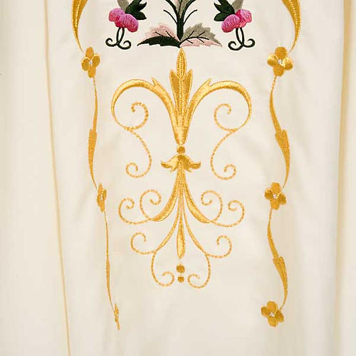 Liturgical vestment in wool with floral embroideries 5
