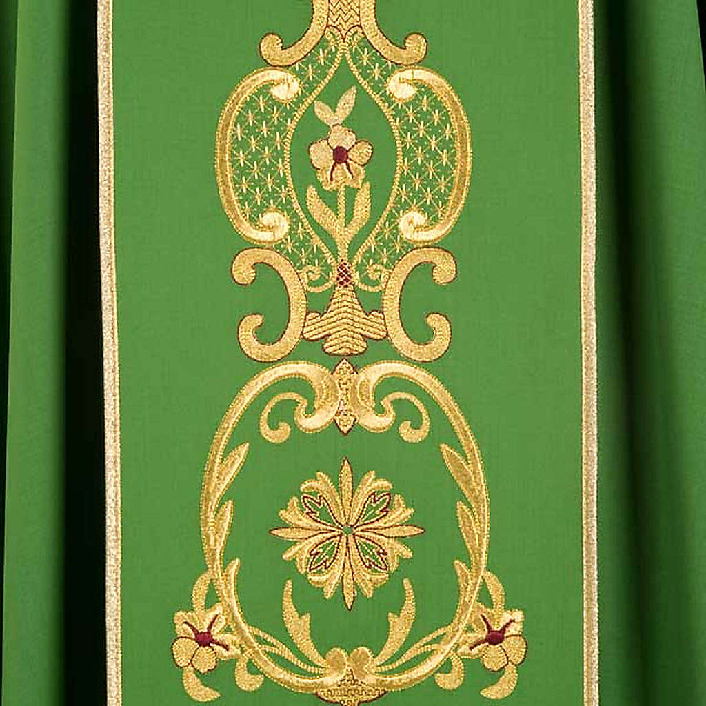 Chasuble in wool with gold flowers and ears of wheat 4