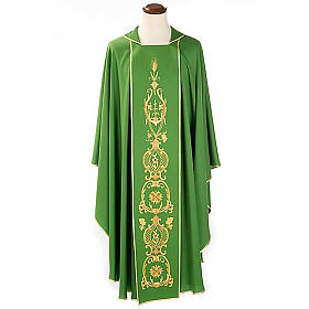 Chasuble in wool with gold flowers and ears of wheat s1
