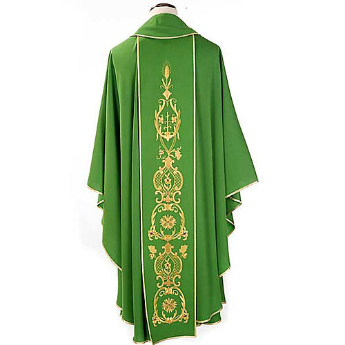 Chasuble in wool with gold flowers and ears of wheat 2