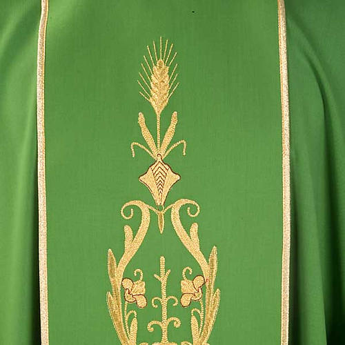 Chasuble in wool with gold flowers and ears of wheat 3