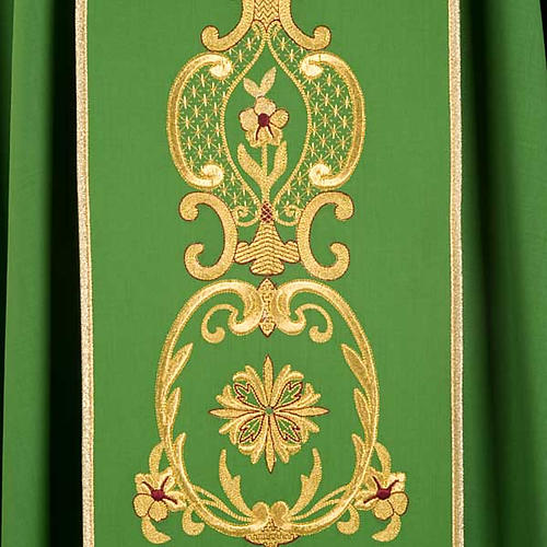 Chasuble in wool with gold flowers and ears of wheat 5