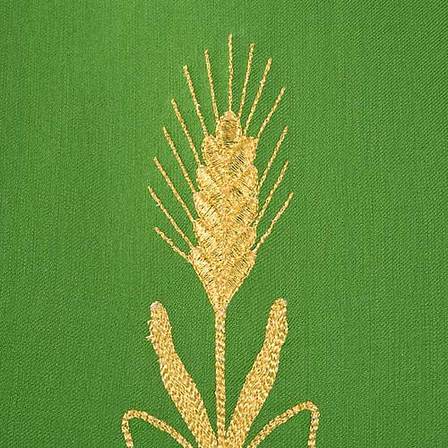 Chasuble in wool with gold flowers and ears of wheat 6