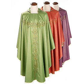 Liturgical Chasuble in lurex with stylized gold motifs s1