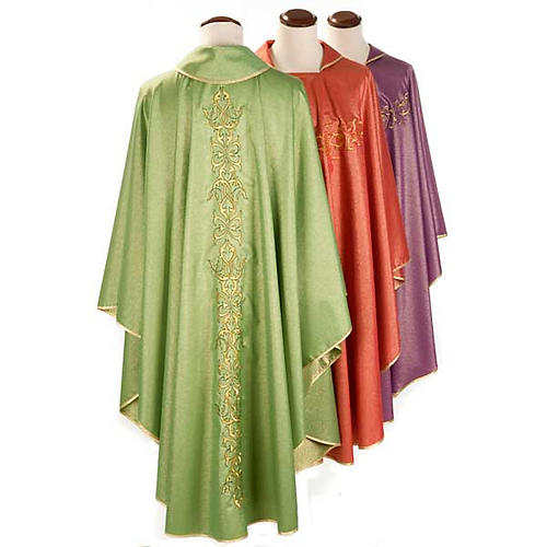 Liturgical Chasuble in lurex with stylized gold motifs 2