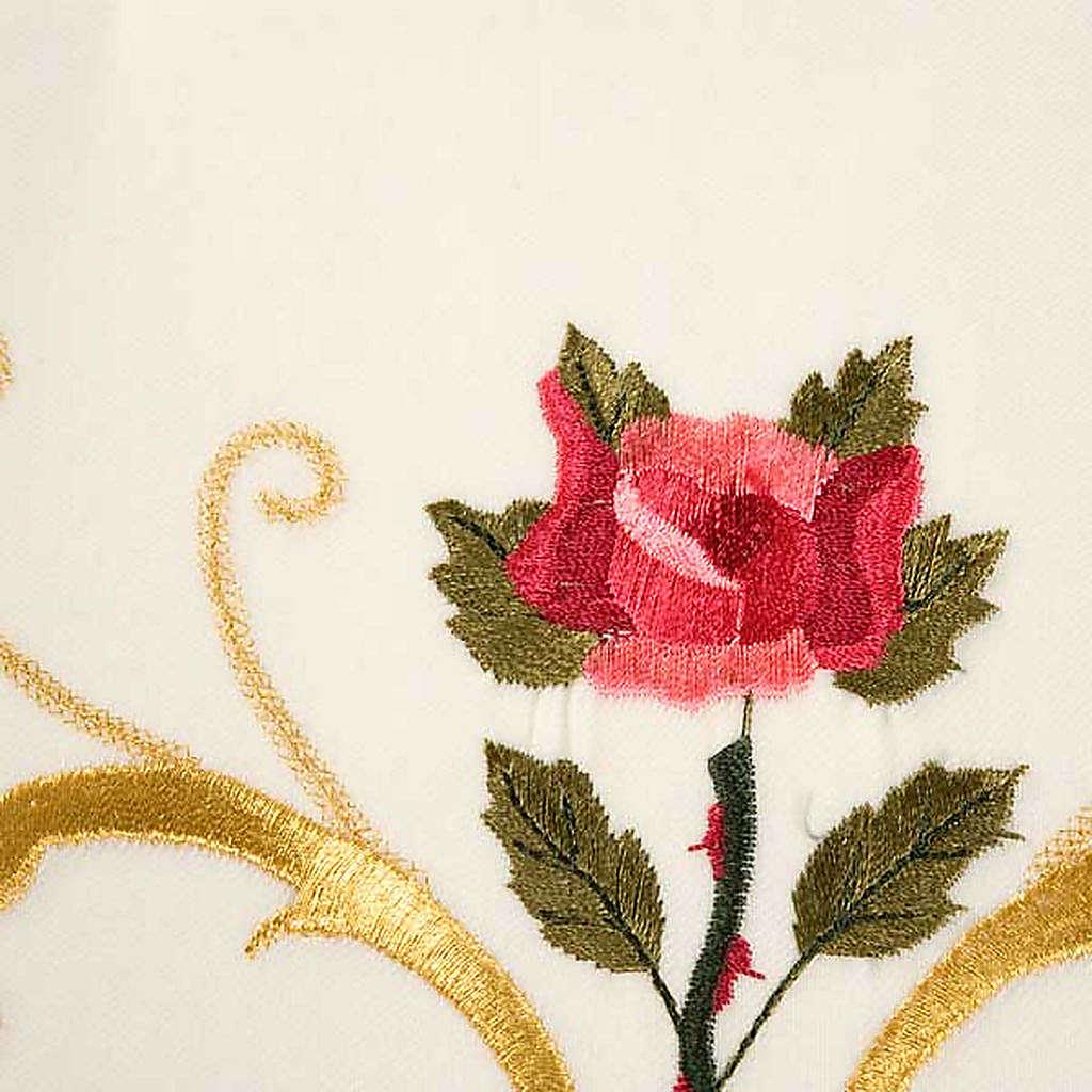 Casulla sacerdotal decoraciones dorada flores colorada lana 100% 4