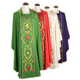 Casulla sacerdotal decoraciones dorada flores colorada lana 100% s1