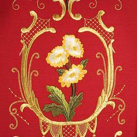 Casulla sacerdotal decoraciones dorada flores colorada lana 100% s5
