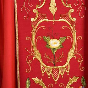 Casulla sacerdotal decoraciones dorada flores colorada lana 100% s6