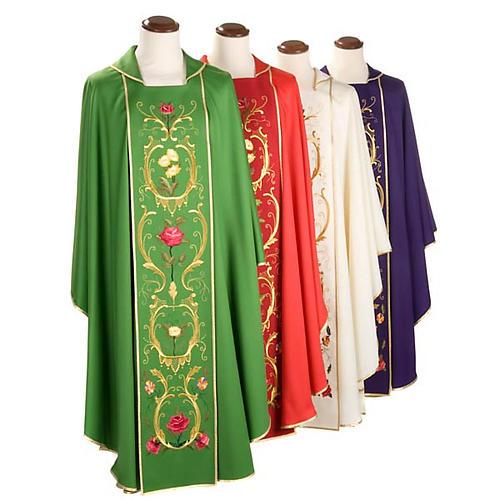 Casulla sacerdotal decoraciones dorada flores colorada lana 100% 1