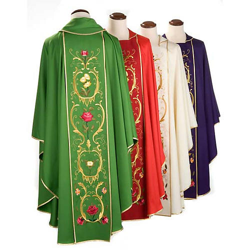 Casulla sacerdotal decoraciones dorada flores colorada lana 100% 2