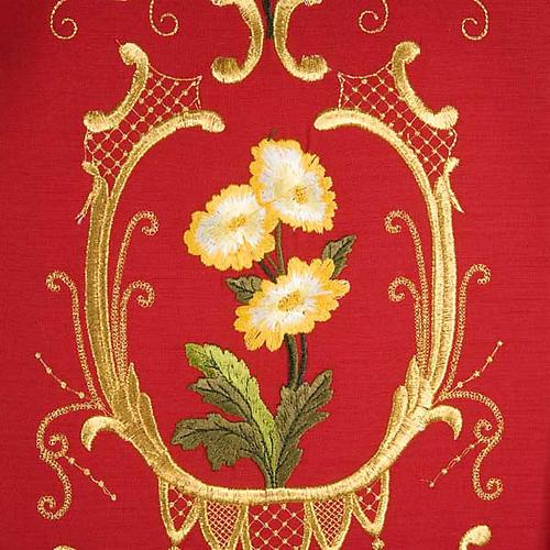 Casulla sacerdotal decoraciones dorada flores colorada lana 100% 5