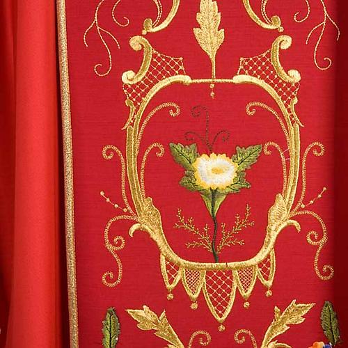 Casulla sacerdotal decoraciones dorada flores colorada lana 100% 6