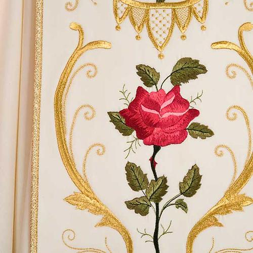 Casula sacerdotale decori oro fiori colorati, pura lana 7