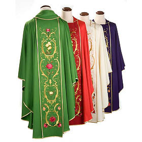 Liturgical Chasuble with floral and gold motifs s2