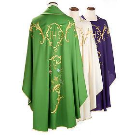 Casula sacerdotale IHS decori dorati pura lana s2