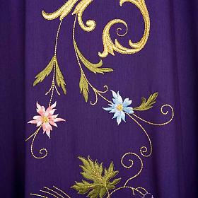 Casula sacerdotale IHS decori dorati pura lana s7