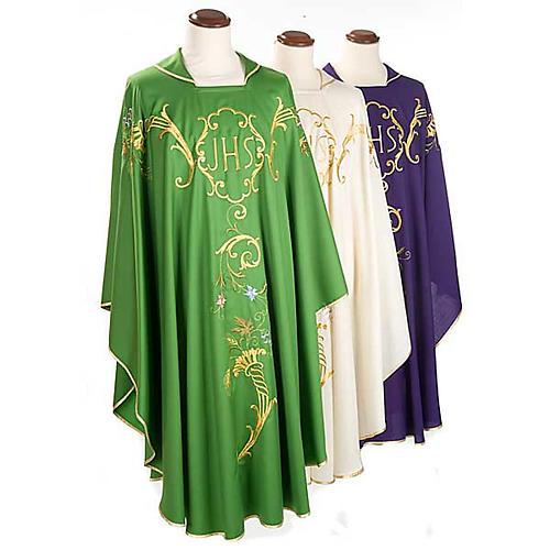 Casula sacerdotale IHS decori dorati pura lana 1