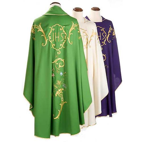 Casula sacerdotale IHS decori dorati pura lana 2