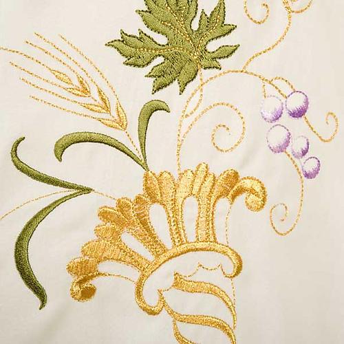 Casula sacerdotale IHS decori dorati pura lana 5