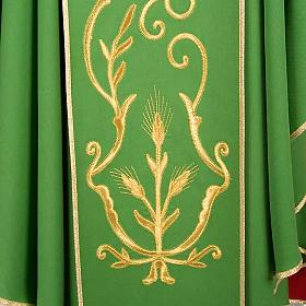 Casula sacerdotale lana pura spighe oro s4