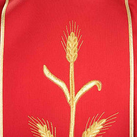Casula sacerdotale lana pura spighe oro s5