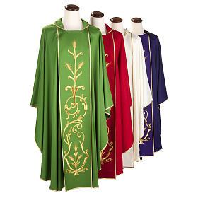 Casula sacerdotale lana pura spighe oro s1