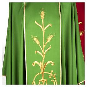Casula sacerdotale lana pura spighe oro s2