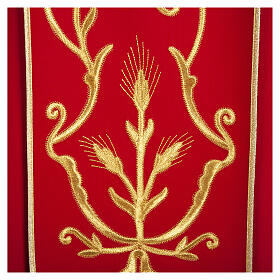 Casula sacerdotale lana pura spighe oro s3
